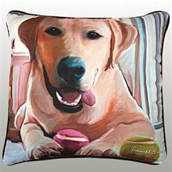 Yellow Lab Pillow Multi Warm 18 Square