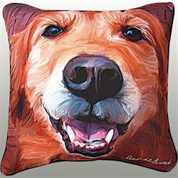 Golden Retriever Pillow Multi Warm 18 Square