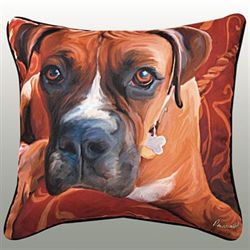 Harry Boxer Pillow Multi Warm 18 Square