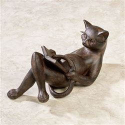 Reading Cat Sculpture Bronze