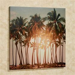 Illuminated Palm Tree Canvas Wall Art Multi Warm