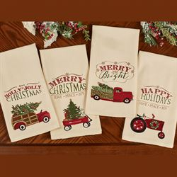 Over the River Holiday Dish Towels Red Set of Four