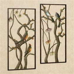 Asian Garden Metal Wall Panel Set