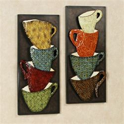 Java Mugs Metal Wall Panel Set Bronze Set of Two