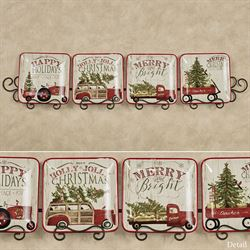 Over the River Holiday Plates Red Set of Four