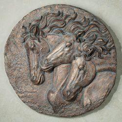 Spirited Mustangs Wall Plaque Bronze