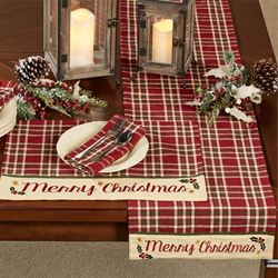 Merry Christmas Table Runner Cranberry 13 x 54
