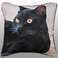 Black Cat Portrait Pillow 18 Square