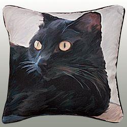 Black Cat Portrait Pillow 18 Square