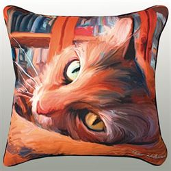Kitty That Reads Pillow Multi Warm 18 Square