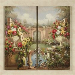 Courtyard Gardens Canvas Art Set Multi Pastel Set of Two