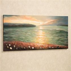 Sunrise on Pebble Beach Canvas Wall Art Multi Earth