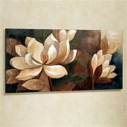 Magnolia Glow Canvas Wall Art Cream