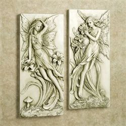Fairies in Garden Wall Art Set Light Almond Set of Two