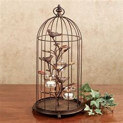 Songbird Birdcage Tealight Holder Dark Bronze