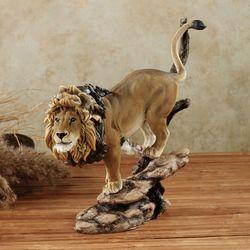 On the Hunt Lion Table Sculpture Caramel
