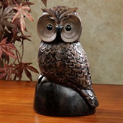 Wise Old Owl Sculpture Brown