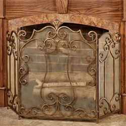 Esmeralda Decorative Fireplace Screen Antique Gold