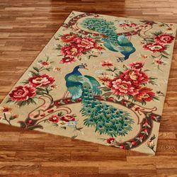 Peacock Garden Rectangle Rug Straw
