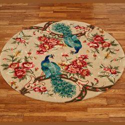 Peacock Garden Round Rug Straw