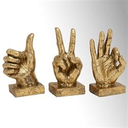 Hand Signs Table Sculptures Antique Gold Set of Three