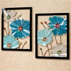 LED Lighted Floral Wall Art Blue Set of Two