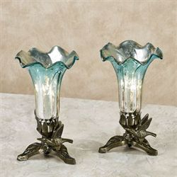 Melissa Lily Uplight Lamps Teal Pair