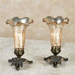 Lovaas Lily Uplight Lamps Champagne Gold Pair