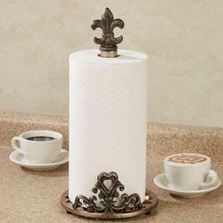 Fleur de Lis Paper Towel Holder Bronze