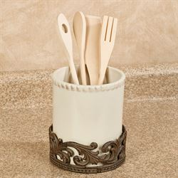 Acanthus Leaf Kitchen Utensil Holder Brown 2 Piece Set