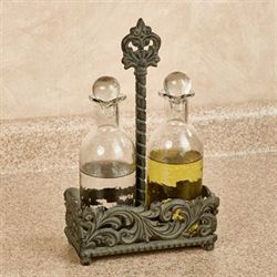 Acanthus Leaf Oil and Vinegar Set Gray Three Piece Set