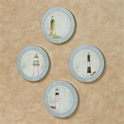 Coastal Lighthouse Round Canvas Wall Art Multi Cool Set of Four