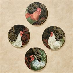 French Rooster Round Canvas Wall Art Multi Warm Set of Four