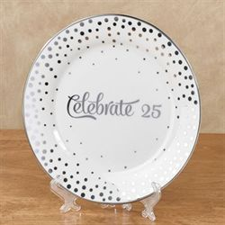 Celebrate 25 Decorative Plate in Easel Silver