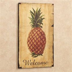 Pineapple Vintage Welcome Sign Wall Art Gold
