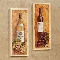 Merlot and Chardonnay Canvas Wall Art Set Golden Yellow Set of Two