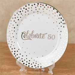 Celebrate 50 Decorative Plate in Easel Gold