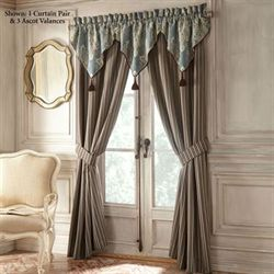 Hilliard Tailored Wide Curtain Pair Aqua 100 x 84