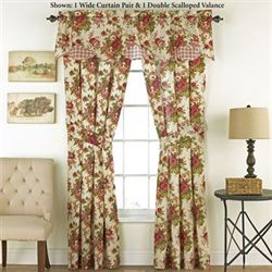 Norfolk Rose Tailored Wide Curtain Pair Cream 100 x 84
