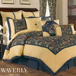 Great Rhapsody Gold And Midnight Blue Comforter Bedding By Waverly