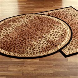 Leopard Round Rug Black Brown