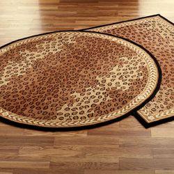Leopard Round Rug Black Brown