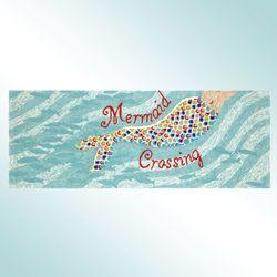 Mermaid Crossing Rug Runner Aqua 23 x 6