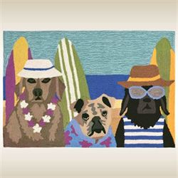 Beach Patrol Dogs Accent Rug Multi Warm 26 x 4