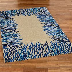 Coral Reef Rectangle Rug Blue