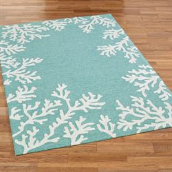 Coral Border Rectangle Rug