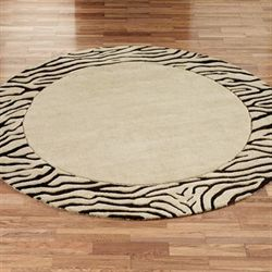 Zebra Border Round Rug Neutral 8 Round