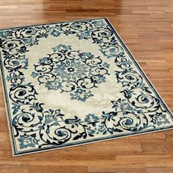 Blooming Scrolls Rectangle Rug
