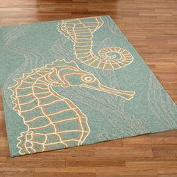 Seahorsing Around Rectangle Rug Aqua