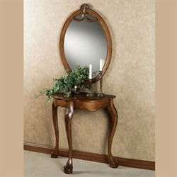 Raphael Table and Mirror Set Antique Walnut Set of Two